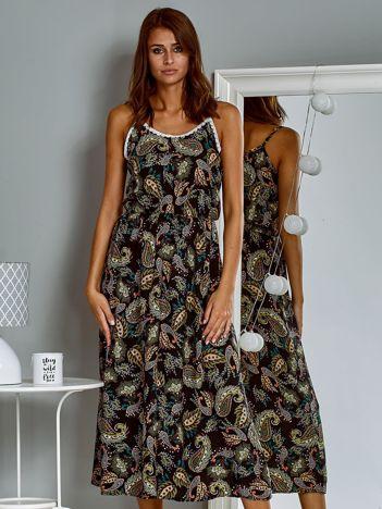 Letnia sukienka maxi z nadrukiem paisley czarna