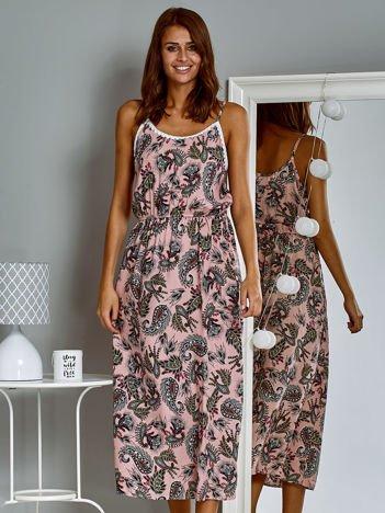 Letnia sukienka maxi z nadrukiem paisley różowa