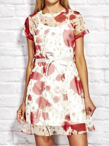 Letnia warstwowa sukienka w kwiaty biała