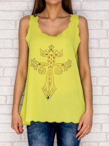 Limonkowa ażurowa koszula mgiełka