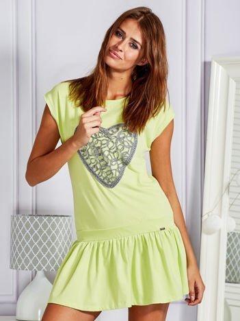 Limonkowa dresowa sukienka tenisowa z aplikacją serca