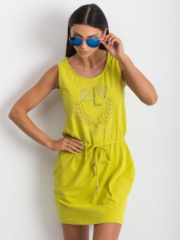 Limonkowa sukienka Embellishment