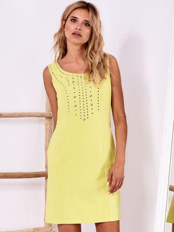 Limonkowa sukienka z aplikacją