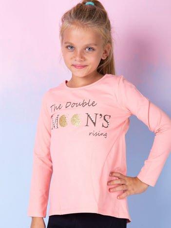 Łososiowa bluzka dla dziewczynki z tekstowym nadrukiem