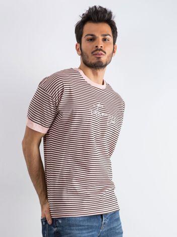 Łososiowo-czarny t-shirt męski Yacht