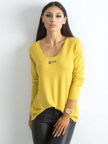 Luźna bluzka z długim rękawem ciemnożółta