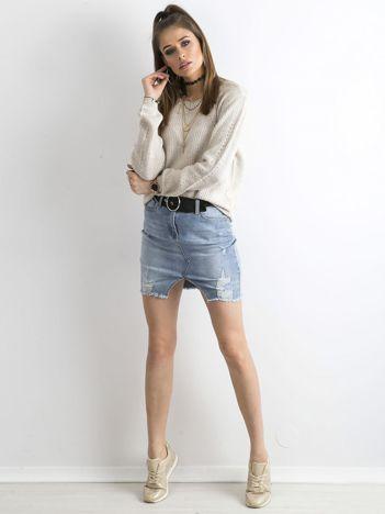 Luźny sweter damski beżowy