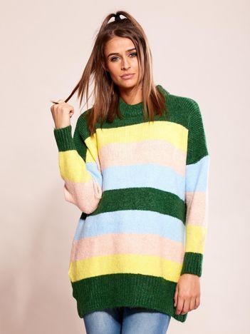 Luźny sweter w pasy zielony