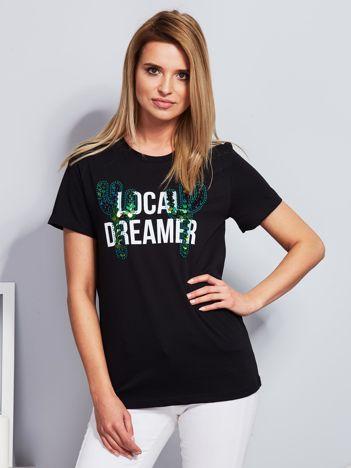 Luźny t-shirt z kaktusami z cekinów czarny