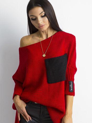 MAGPIE Czerwony luźny sweter z kieszenią