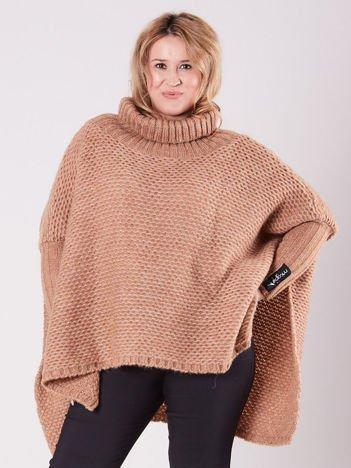 MAGPIE Jasnobrązowy sweter oversize z golfem