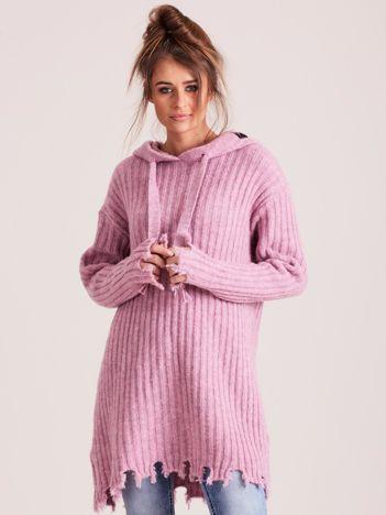MAGPIE Jasnofioletowy sweter z kapturem