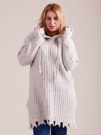 MAGPIE Jasnoszary sweter w prążek