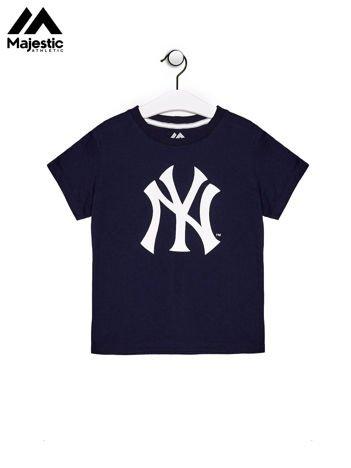 MAJESTIC ATHLETIC Granatowy t-shirt chłopięcy ze znakiem graficznym