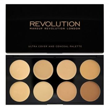 MAKEUP REVOLUTION Paleta 8 kremowych korektorów Light/Medium Ultra Cover & Conceal Palette 10g