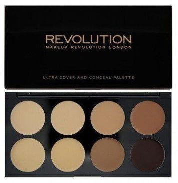 MAKEUP REVOLUTION Paleta 8 kremowych korektorów Medium/Dark Ultra Cover & Conceal Palette 10g
