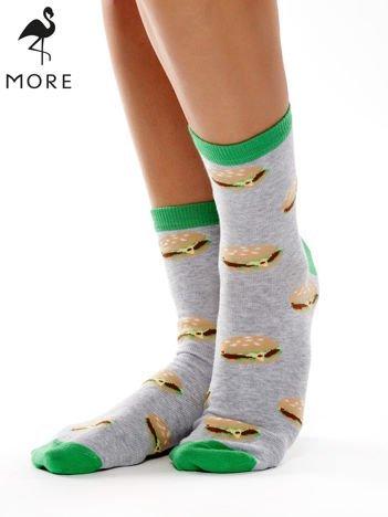 MORE Szaro-zielone skarpety bawełniane w hamburgery