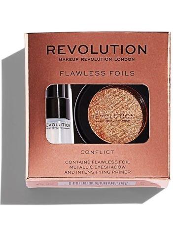 Makeup Revolution Flawless Foils Cień do powiek metaliczny + baza Conflict
