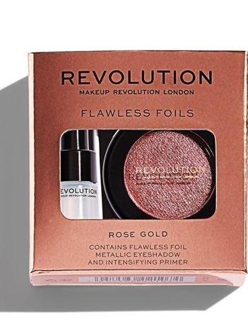 Makeup Revolution Flawless Foils Cień do powiek metaliczny + baza Rose Gold