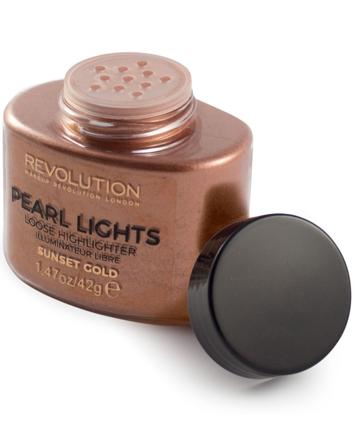 Makeup Revolution Pearl Lights Loose Highlighter Puder sypki rozświetlający Sunset Gold 25 g