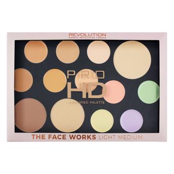 Makeup Revolution Pro HD Palette The Face Works Paleta do makijażu twarzy light/medium 27 g