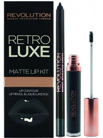 Makeup Revolution Retro Luxe Matte Lip Kit Zestaw do ust konturówka 1g + matowa pomadka w płynie 5,5ml Magnificent