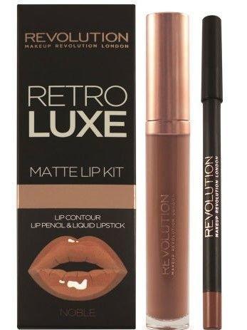 Makeup Revolution Retro Luxe Matte Lip Kit Zestaw do ust konturówka 1g + matowa pomadka w płynie 5,5ml Noble