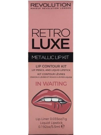 Makeup Revolution Retro Luxe Metallic Lip Kit Zestaw do ust konturówka 1g + pomadka w płynie 5,5ml In Waiting