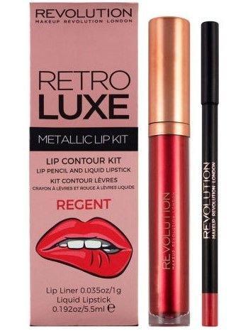 Makeup Revolution Retro Luxe Metallic Lip Kit Zestaw do ust konturówka 1g + pomadka w płynie 5,5ml Regent