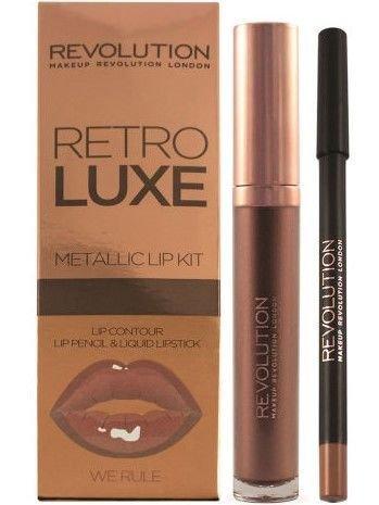 Makeup Revolution Retro Luxe Metallic Lip Kit Zestaw do ust konturówka 1g + pomadka w płynie 5,5ml We Rule