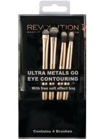 Makeup Revolution Ultra Metals Go Eye Contouring Zestaw pędzli do cieni (4szt.) z kosmetyczką
