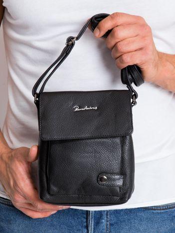 Mała czarna torebka męska ze skóry