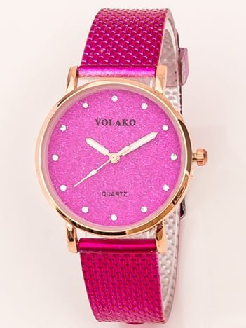 Mały Różowy Zegarek Damski Z Tarczą GLITTER