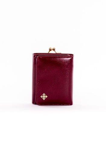 Mały bordowy portfel damski z kieszonką na bigiel