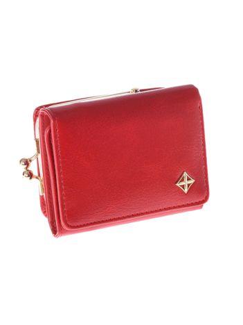 Mały czerwony portfel damski z kieszonką na bigiel