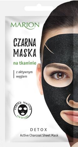 """Marion Detox Aktywny Węgiel Maska czarna na tkaninie"""""""