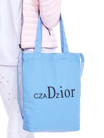 Materiałowa torba niebieska z nadrukiem CZADZIOR