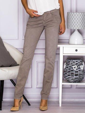 Materiałowe proste spodnie z kieszeniami szare