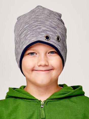 Melanżowa czapka chłopięca z nitami szaro-granatowa