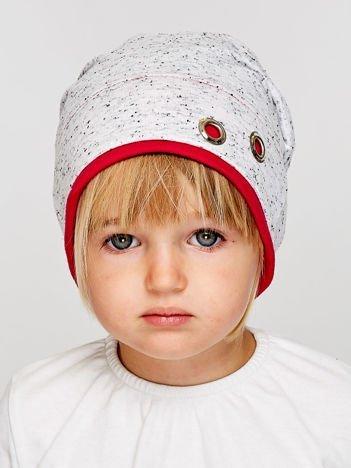 Melanżowa czapka dziewczęca z ozdobnymi nitami szaro-amarantowa