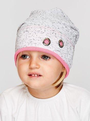 Melanżowa czapka dziewczęca z ozdobnymi nitami szaro-różowa