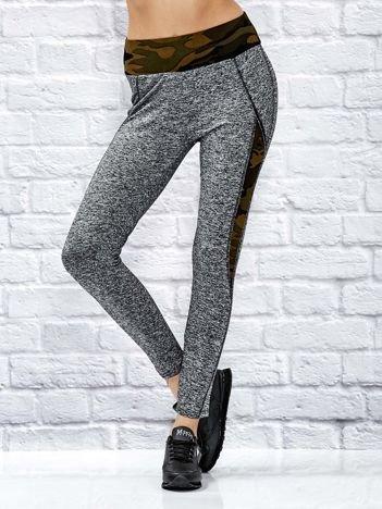 Melanżowe legginsy z moro wstawkami brązowe