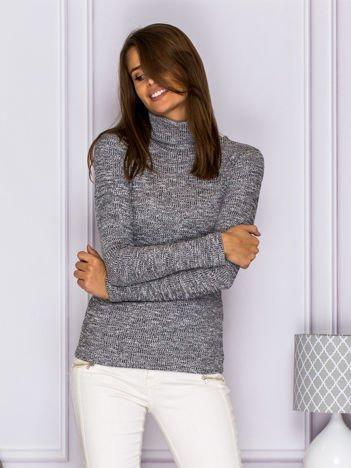 Melanżowy sweter z luźnym półgolfem szary