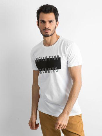 Męska koszulka z nadrukiem biała