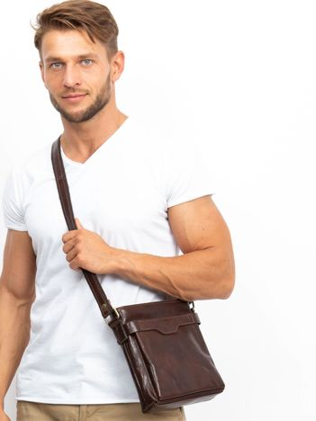 Męska torba skórzana ciemnobrązowa