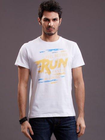 Męski t-shirt biały Run