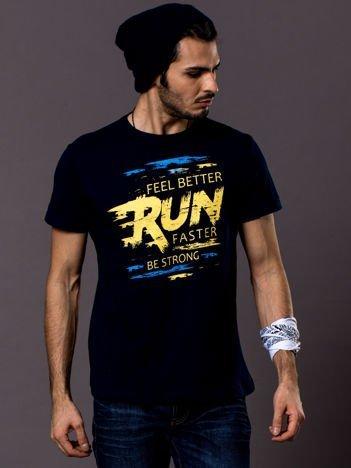 Męski t-shirt granatowy Run