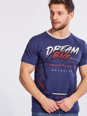 Męski t-shirt z bawełny ciemnoniebieski