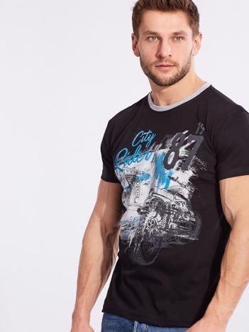 Męski t-shirt z printem czarny