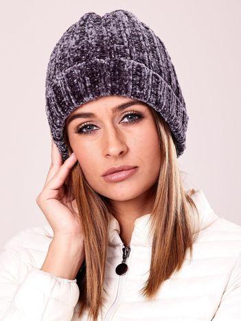 Miękka ciemnoszara czapka damska